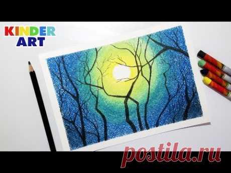 В этом видео показываю, как нарисовать красивый ночной пейзаж, лунную ночь, масляной пастелью поэтапно, шаг за шагом, для детей и начинающих. How to draw a m...