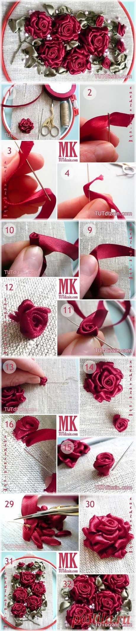 Вышиваем лентами розы » Планета рукоделия