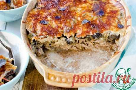 Мясная запеканка под корочкой из баклажанов - кулинарный рецепт