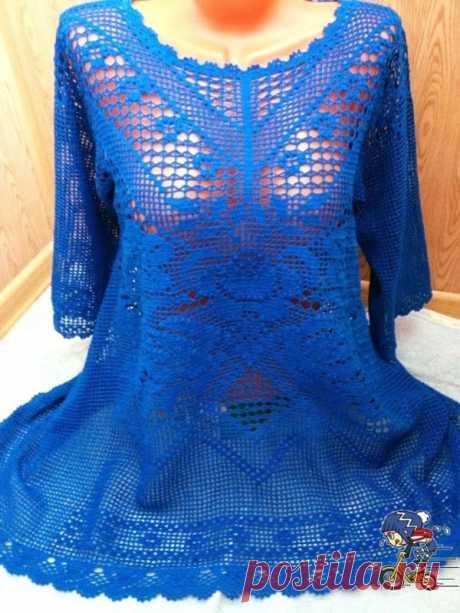 Блуза филейной вязки Девочки.хочу поделиться вот такой красотой!Нашла на просторах инета.Схемки есть .Может и свяжет кто то из нас такую красоту.И цвет даже мой!!!