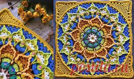 Бесплатные афганские цветочные узоры для вязания крючком.