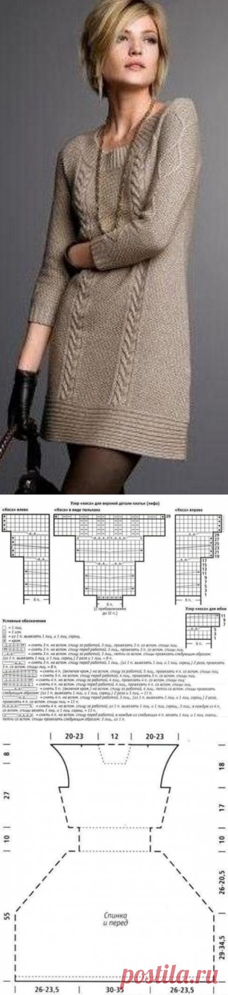 Офисные платья спицами
