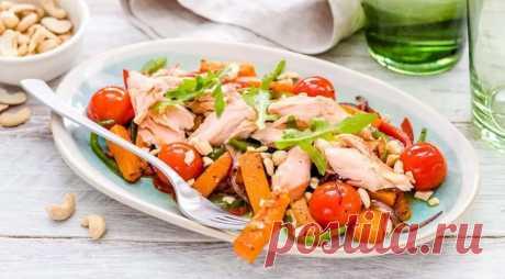 Необычно! Салат из копченой горбуши с тыквой — Вкусные рецепты