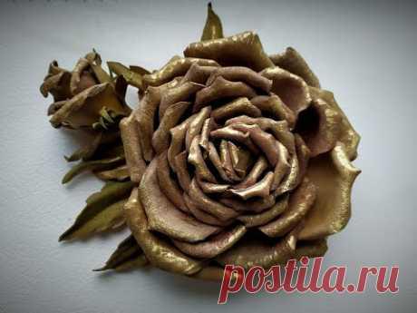 Роза из натуральной кожи. Часть 3. Rose made of genuine leather. Part 3