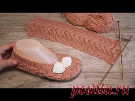 Следки с поперечной косой спицами 👠 Cables Slippers knitting pattern - YouTube  тапочки,следки,балетки,тапочки спицами,следки спицами,носки спицами,балетки спицами,тапочки на двух спицах,носки на двух спицах,Slippers,Slippers knitting pattern,knitt,knitting,knitting pattern