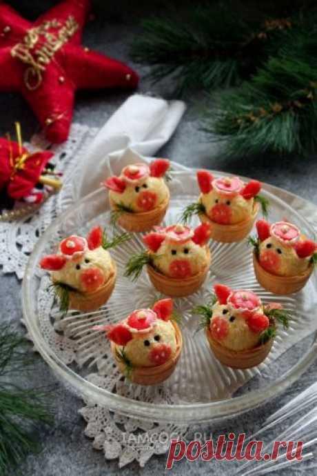 Новогодние тарталетки «Свинки» с сырной закуской — рецепт с фото пошагово