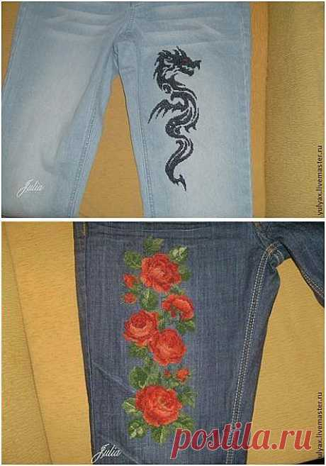 Как вышивать крестиком на джинсах, махровом полотенце и другой очень плотной ткани.