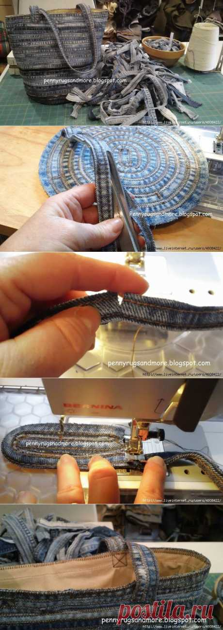 Сумка из джинсовых швов..