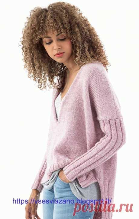 Пуловер от BOBBIE FITZGERALD, с удлинённой спинкой, спицами. / ВСЕ СВЯЗАНО. ROSOMAHA.