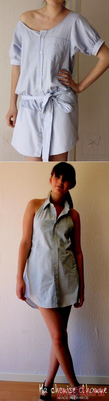 Подборка идей, как переделать мужскую рубашку в платье