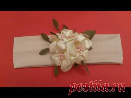 ¡DIY Kanzashi las Flores del manzano la venda no difícil! Haz por las manos