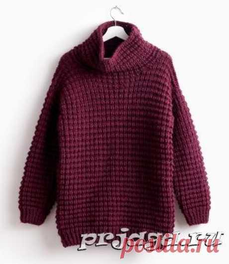 Женский объёмный свитер спицами
