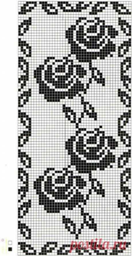 Платье филейным узором розы. Схемы филейных роз   Я Хозяйка