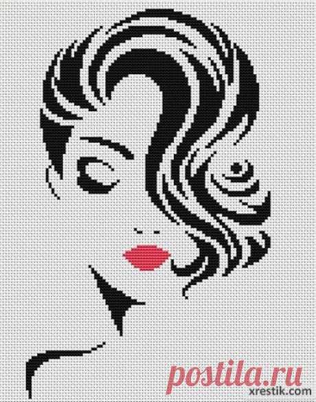 Стильная девушка №6  Размер в крестиках:... / Рукоделие / Схемы для вышивки монохромных девушек / Pinme.ru