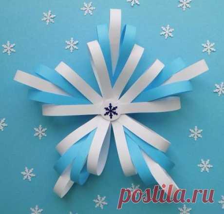 Клеим с детьми снежинку из цветной бумаги
