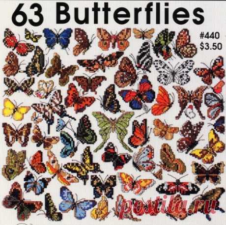 63 бабочки / Вышивка / Вышивка крестом