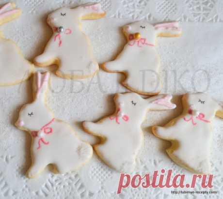 Пасхальное печенье зайчики с глазурью - Рецепт с фото
