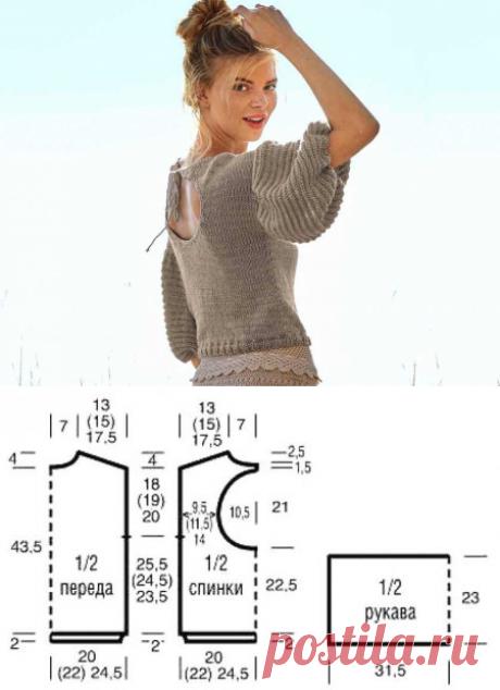 Пуловер с рукавами-фонариками и вырезом на спинке - Вязаные модели спицами для женщин