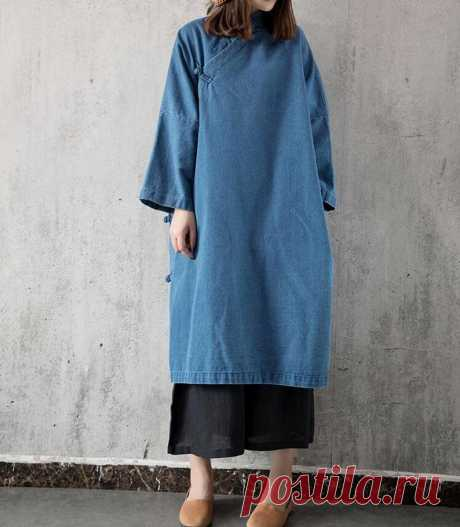 Denim dress light blue Cowboy Loose dress dark blue long   Etsy