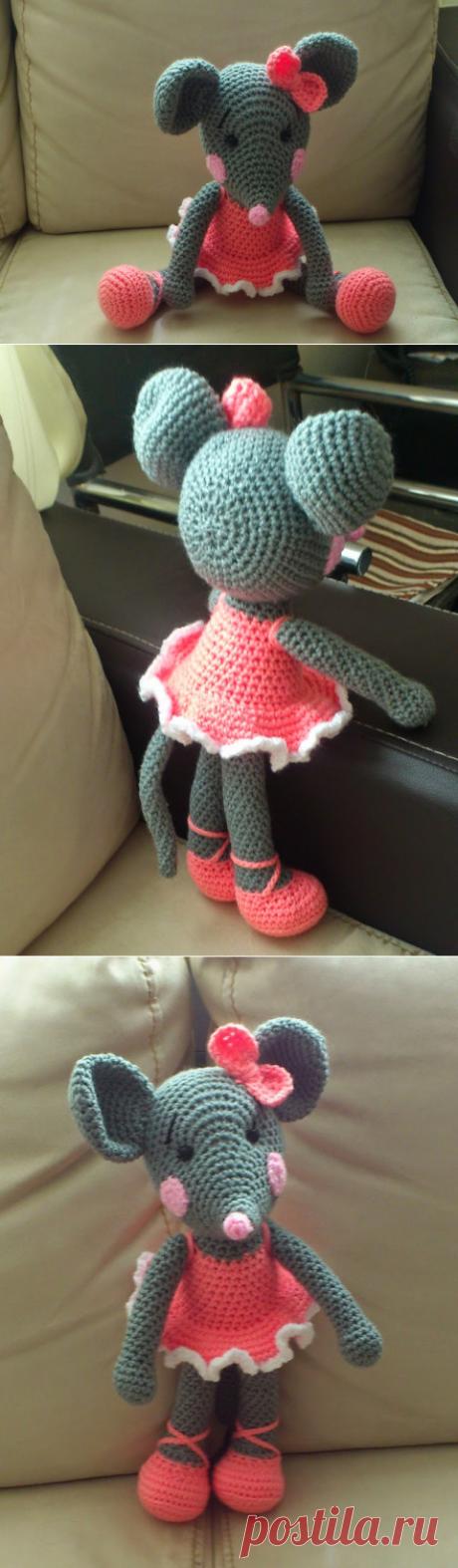 Мышка балерина амигуруми. Схема вязания.