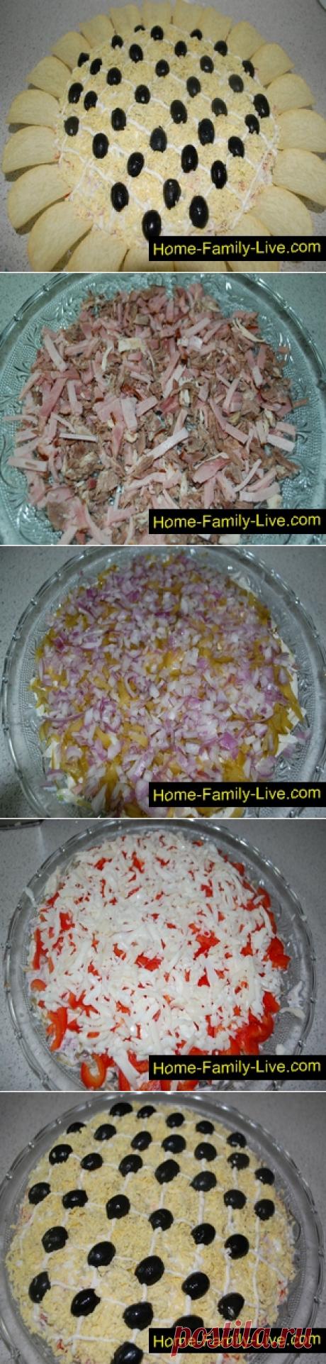 La ensalada el Girasol - poshagovyy la receta con las fotorecetas de cocina