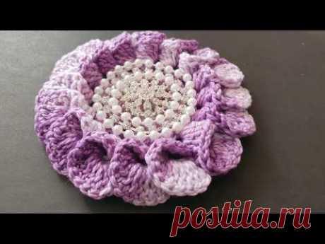 Flor facil en 3D con perlas para gorros, diademas, vestidos y bufandas