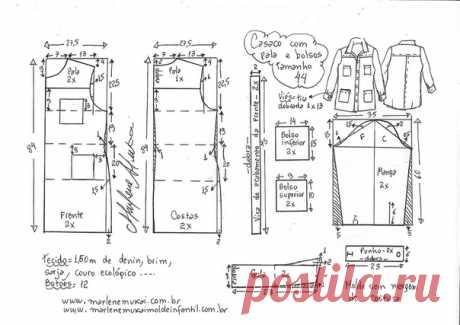 Джинсовое пальто #Схемы_выкроек на размеры 36-56 в файле PDF Casaco com pala e bolsos externos