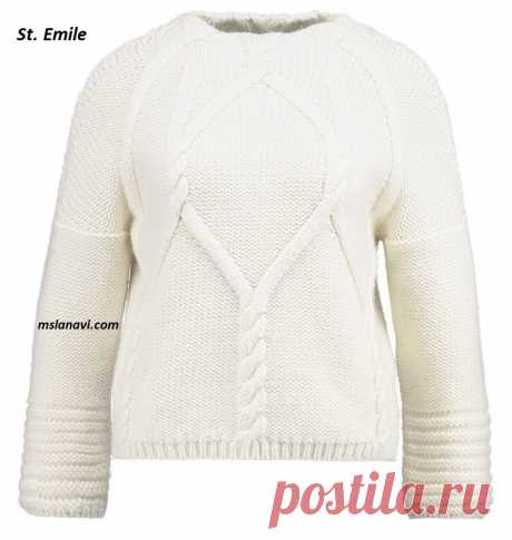 Белый пуловер от St. Emile | Вяжем с Лана Ви