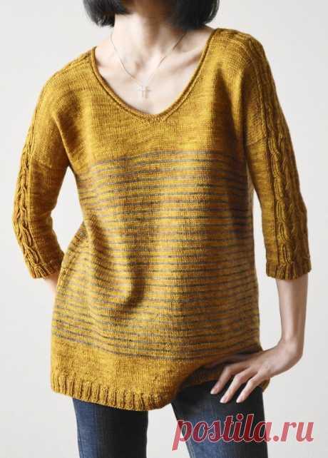 Свободный пуловер спицами Lattice or Braid - Вяжи.ру