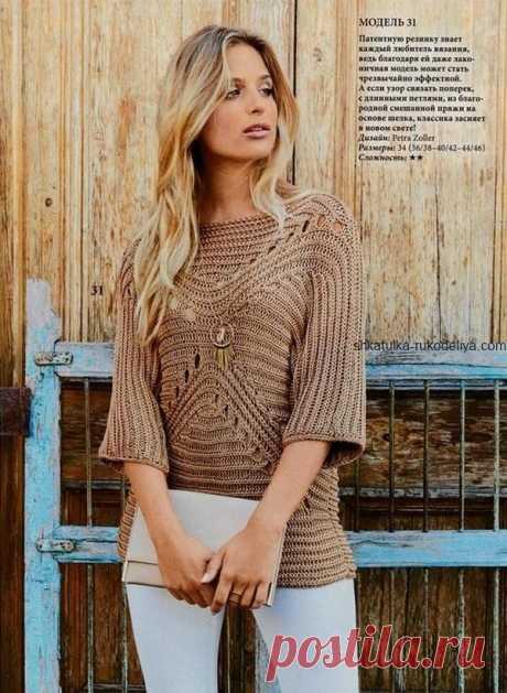 Бежевый пуловер с патентной резинкой Бежевый пуловер с патентной резинкой спицами. Женский пуловер связан поперек с длинными петлями 2020