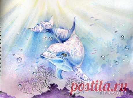 Дельфин под водой: рисуем акварелью — Сделай сам, идеи для творчества - DIY Ideas