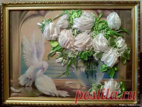 Розы из лент - потрясающая объемная вышивка! (мастер-класс) » Женский Мир