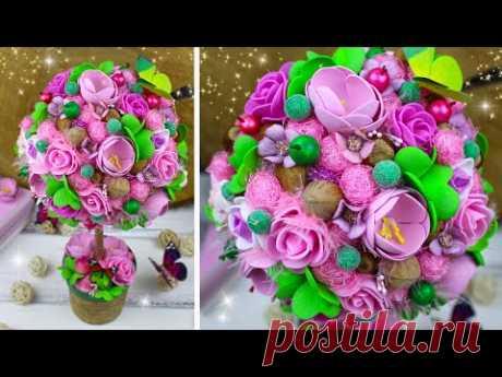 Насыщенный розово-зеленый топиарий  / Дерево счастья своими руками / DIY Летний декор   Eva-Konfetti