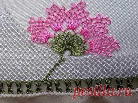 Havlu Kenarı Çiçek Oyası Yapılışı   El işi Örgü Oya Dantel Atkı Patik Hırka Yelek Bere