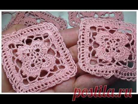 How To Crochet Square Crochet Solid Square Tutorial Красивый квадрат крючком