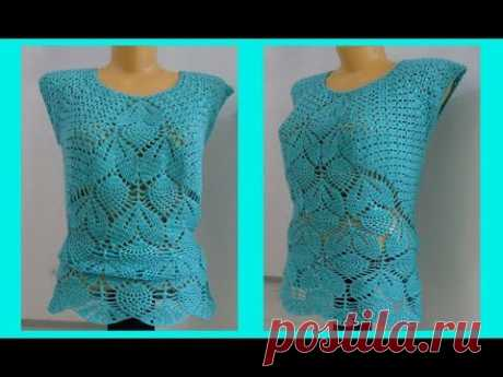 Кофточка с ананасами, вязание крючком,crochet blouse ( В № 159)