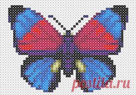 Бабочка Хама бисер шаблон / Перлер шарик искусства / Pinterest