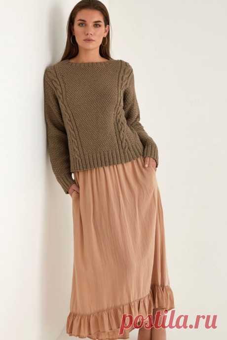 Пуловер с косами Camel.