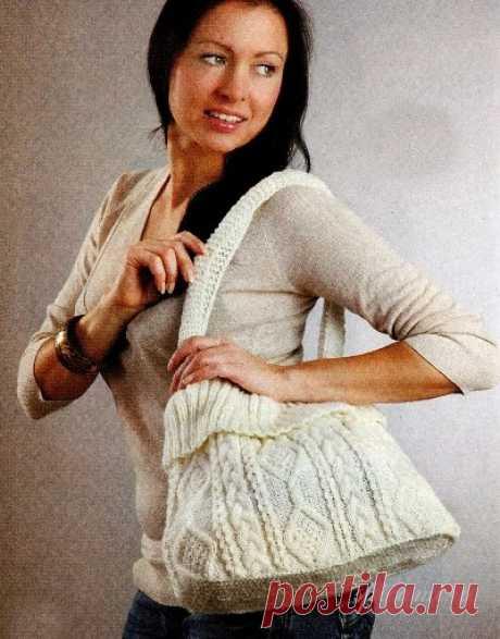Вязаная сумка с рельефным узором | Своими руками