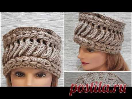 шапка-кубанка крючком❤превращение повязки в шапку)