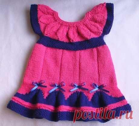 Яркое платье для новорожденной девочки спицами (Вязание спицами)   Журнал Вдохновение Рукодельницы