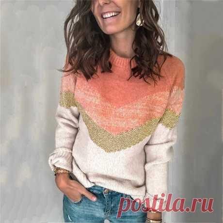 Женский пуловер с круглым вырезом FS 2020, Повседневный пуловер в стиле пэчворк с рукавами реглан и круглым вырезом на осень и зиму|Водолазки| Детские жаккарды| роспись по ткани | готовые выкройки |