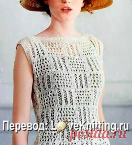 Пуловер на лето в ажурные квадраты - svjazat.ru