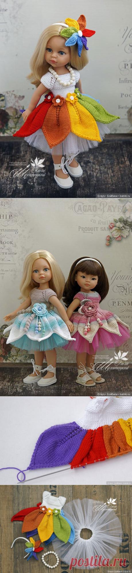 Мастер-класс - платье спицами для Паолок Акварельки / Вязание для кукол / Бэйбики. Куклы фото. Одежда для кукол