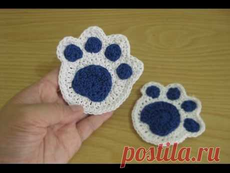 Crochet || Tutorial Merajut Jejak Kaki - Paw Print - YouTube
