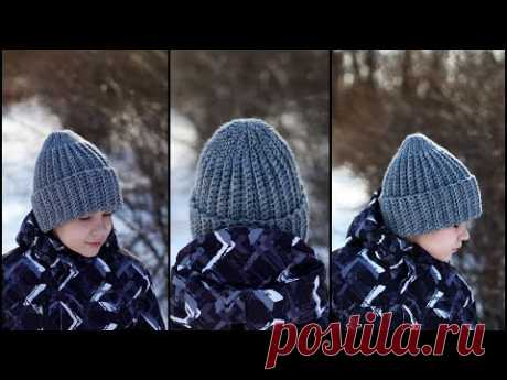 Хит зимы! Теплая шапка за 1 вечер | Модная шапка крючком из толстой пряжи | Crochet Hat