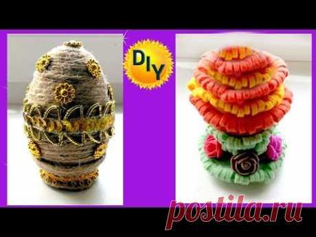 Пасхальная композиция, пасхальное яйцо из гипса в джуте и фетре.
