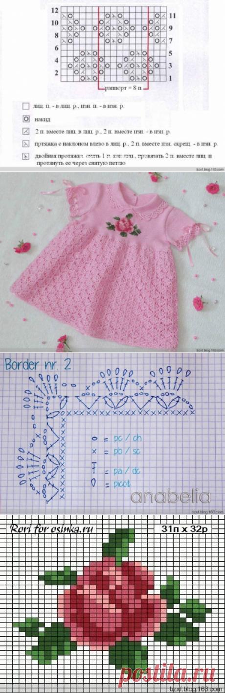Вязание крючком для девочек Платье