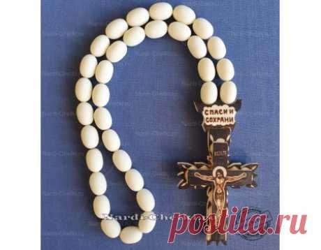 """Купить православные четки на зеркало """"Крест-6"""" из кости и шара"""