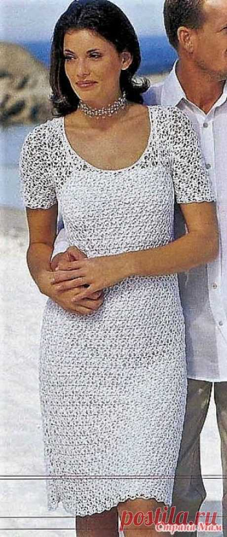 . Белоснежное ажурное платье. Размеры: 34/36 (38/40) 42/44  Вам потребуется: 800 (800) 900 г белой пряжи (100% вискозы. 667 м/100 г); крючок № 2.5-3.5.
